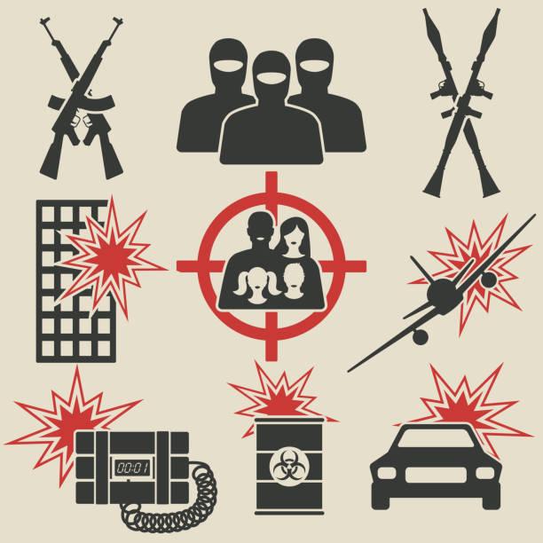 Terrorism icons set Terrorism icons set. vector illustration - eps 8 terrorism stock illustrations