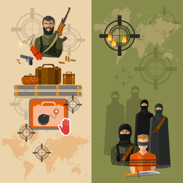 Terrorism taking of hostages global terror threat vector banners vector art illustration