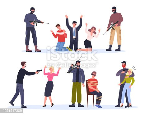 istock Terrorist and hostage. Man in mask holding gun and attack people. Criminals holding woman 1251517309