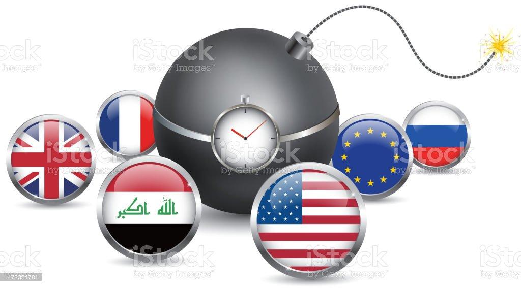 Terrorist attacks is the enemy of world vector art illustration
