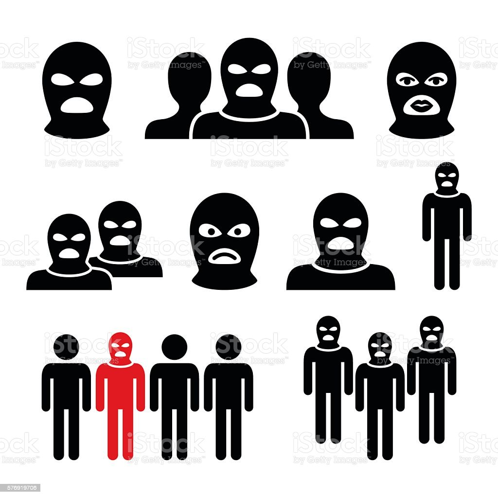 Terrorist group, dangerous people in balaclava icons set vector art illustration