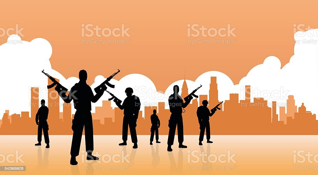 Terrorist Group Over City View Banner vector art illustration