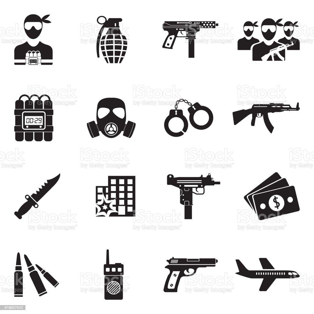 テロのアイコン。黒のフラット デザイン。ベクトルの図。 ベクターアートイラスト