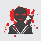 Terrorist in balaclava mask, icon