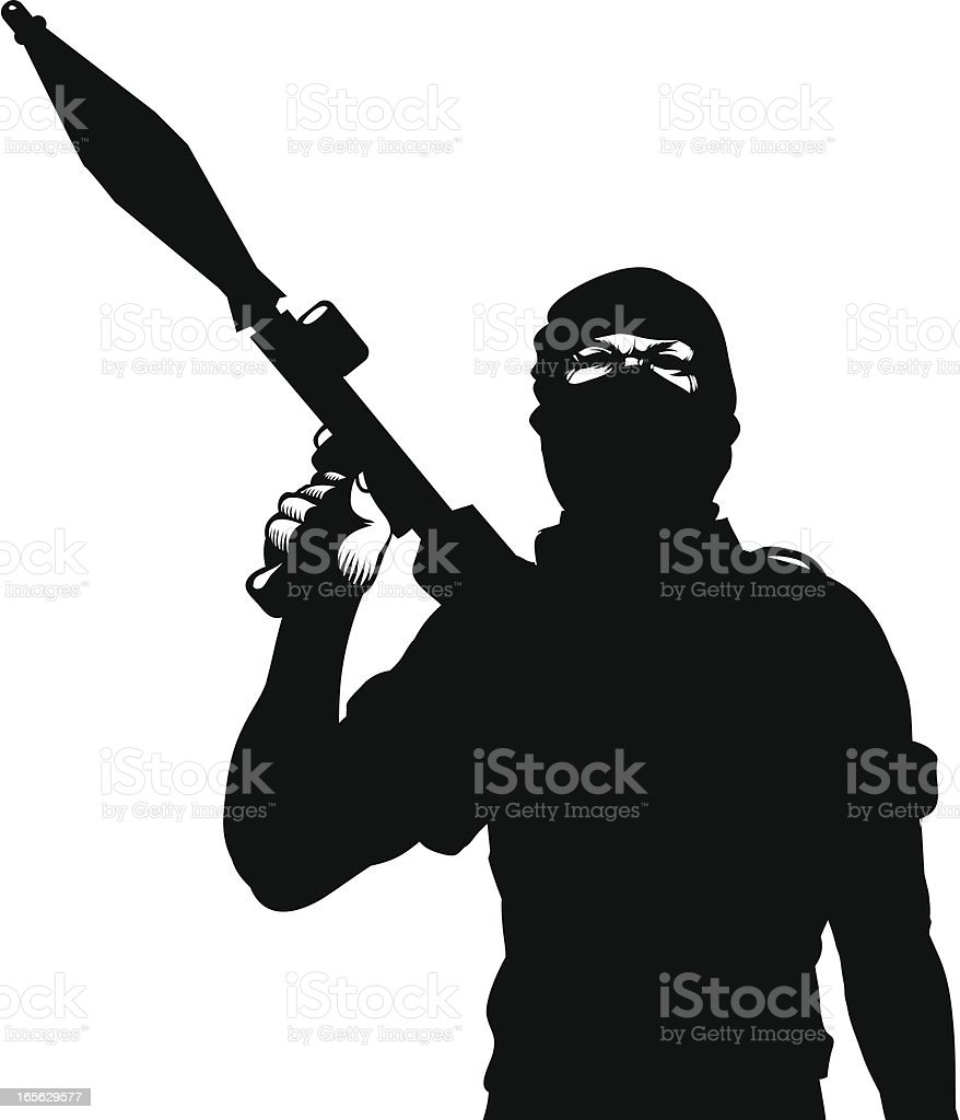 Terrorist with a rocket launcher vector art illustration