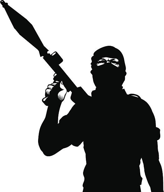 Terrorist with a rocket launcher Terrorist with a rocket launcher terrorism stock illustrations