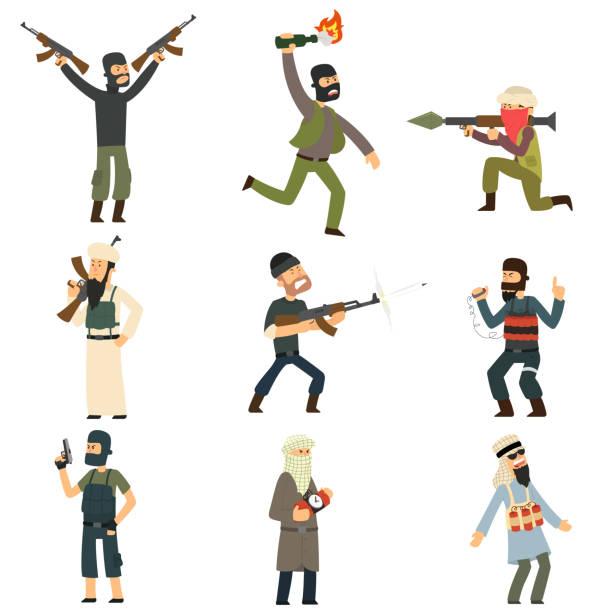terroristen mit waffen und sprengstoff. - kopfschüsse stock-grafiken, -clipart, -cartoons und -symbole