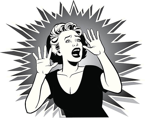 Terrorized Woman Screaming for Help Image of a young woman caught in a terrifying situation. shock stock illustrations
