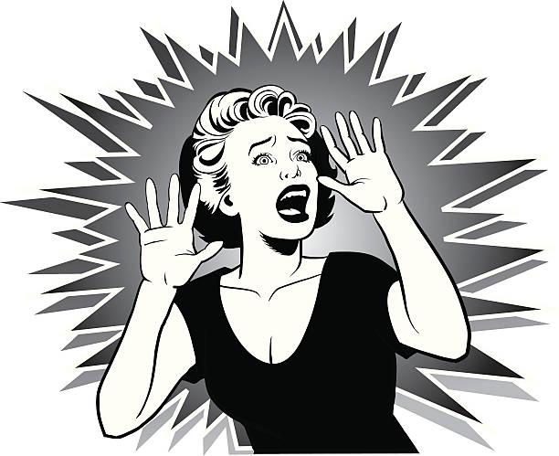 screaming terrorized 女性をお手伝いいたします。 - 恐怖点のイラスト素材/クリップアート素材/マンガ素材/アイコン素材