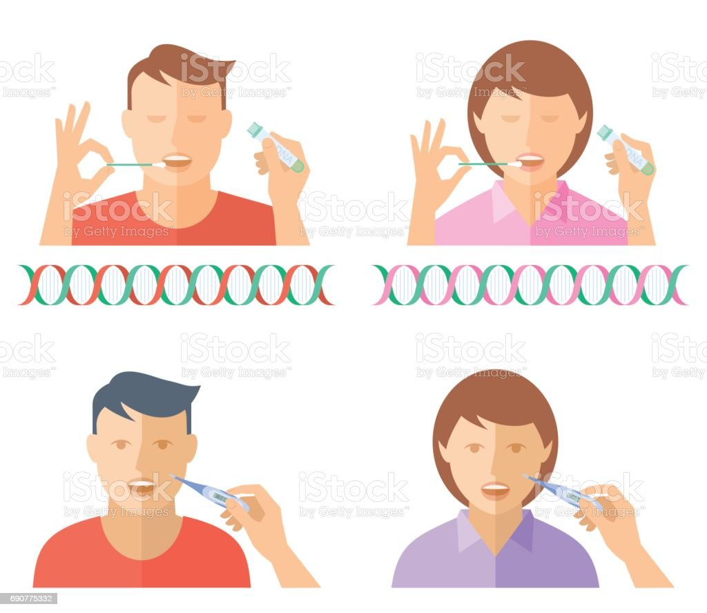 DNA test and a temperature measuring. vector art illustration