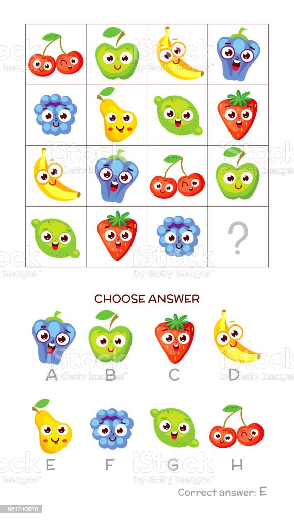IQ test. Choose correct answer royalty-free iq test choose correct answer stock vector art & more images of banana