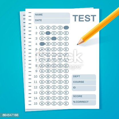 Test or exam standardized template concept.