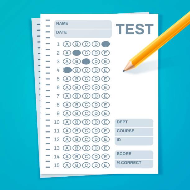 illustrazioni stock, clip art, cartoni animati e icone di tendenza di test exam - test