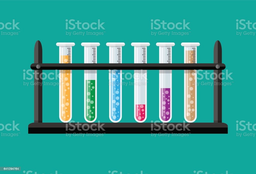 Test glass tubes in rack vector art illustration