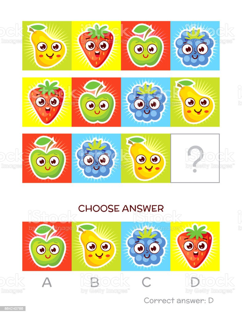IQ test. Logical tasks composed of colored fruits royalty-free iq test logical tasks composed of colored fruits stock vector art & more images of cartoon