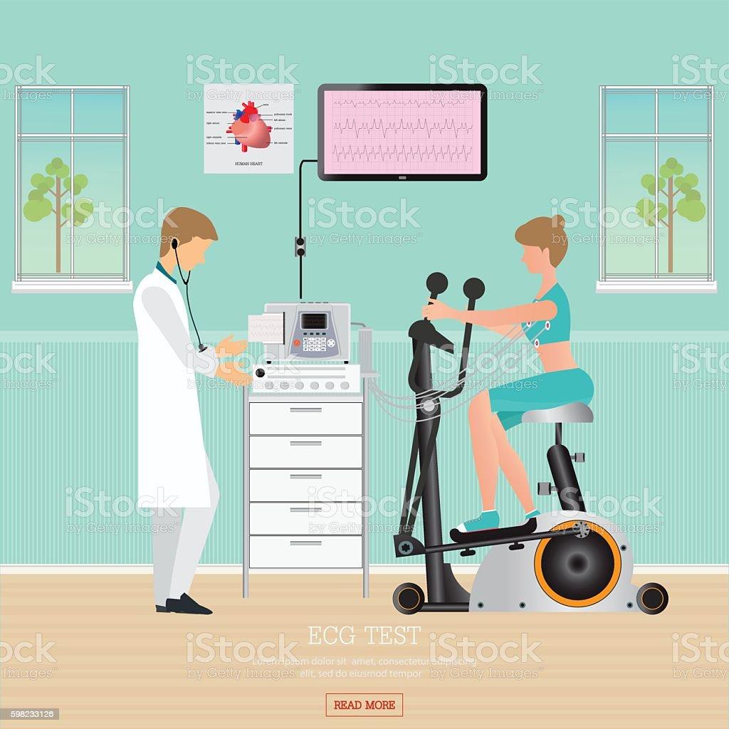 ECG Test or Exercise Test for Heart Disease on Exercise Bikes. ilustração de ecg test or exercise test for heart disease on exercise bikes e mais banco de imagens de acidentes e desastres royalty-free
