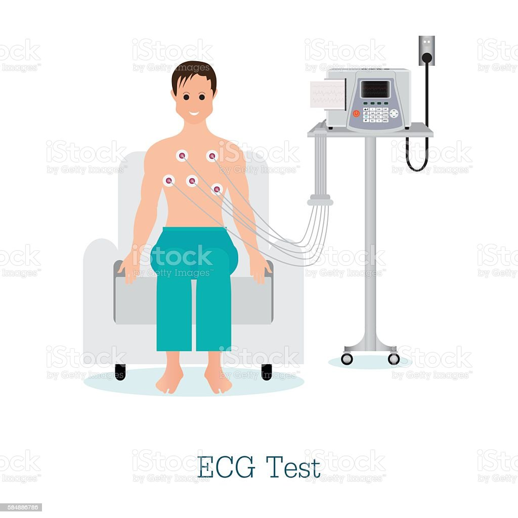 ECG Test or The Cardiac Test with patient. vector art illustration