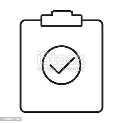 istock Test outline icon vector document checkbox sign for your web site design, logo, app, UI. illustration, EPS10 1330868192