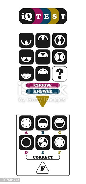 istock IQ test page 5. Intelligence quotient exercise. Choose correct answer. Logical tasks composed of geometric shapes. Vector illustration 927084718