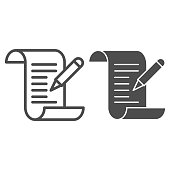 istock Test results line and solid icon, Medical tests concept, Medical form with pencil sign on white background, report and pen icon in outline style for mobile concept and web design. Vector graphics. 1280261622