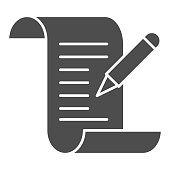 istock Test results solid icon, Medical tests concept, Medical form with pencil sign on white background, report and pen icon in glyph style for mobile concept and web design. Vector graphics. 1280256788