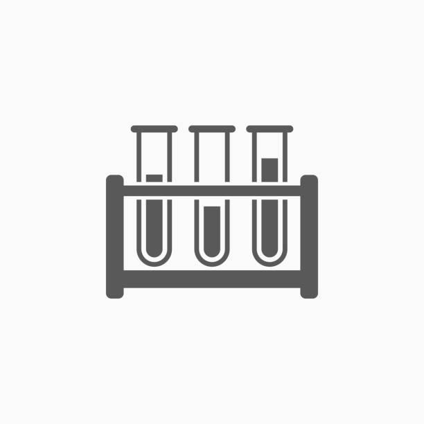 test tube icon, laboratory vector, test tube rack - пробирка stock illustrations