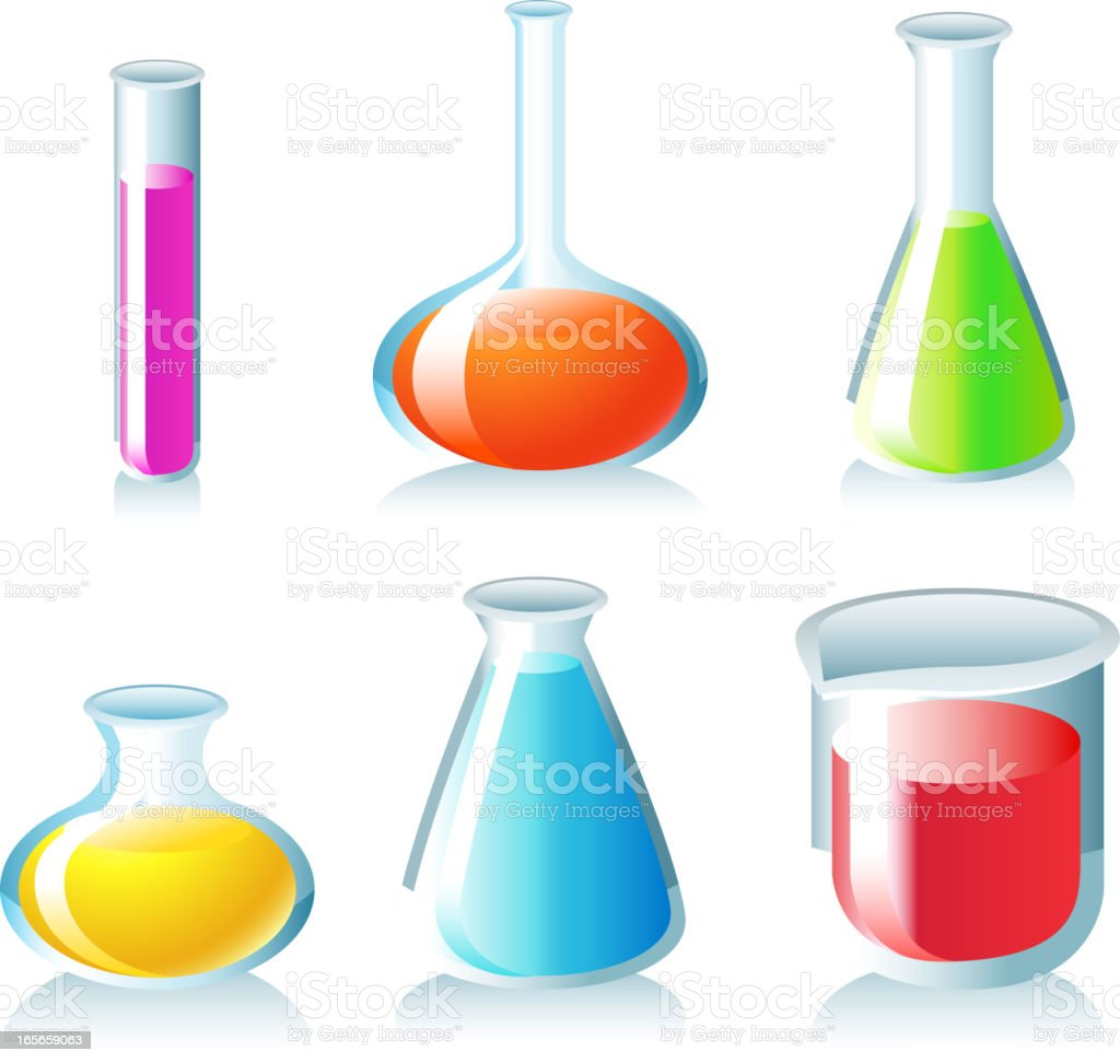 Test tube icon set chemistry chemist laboratory chemists royalty-free stock vector art