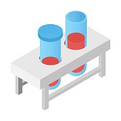 Test tube isometric 3d icon for web and mobile devices