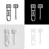 istock Test tube with cotton swab. Icon for design. Blank, white and black backgrounds - Line icon 1298391972