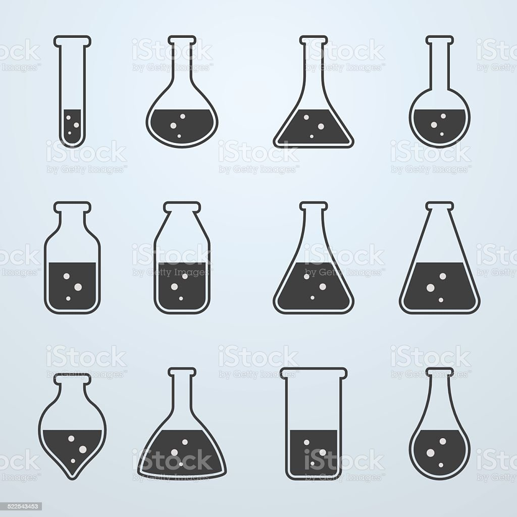 Test tubes and flasks icons vector art illustration