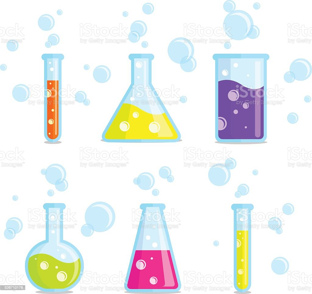Test tubes, beakers, flasks and bubbles. Vector colorful icons. vector art illustration