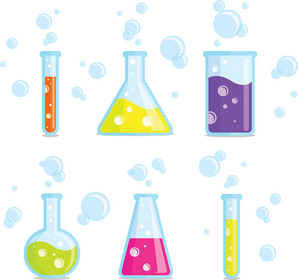Test tubes, beakers, flasks and bubbles. Vector colorful icons. Test tubes, beakers, flasks and bubbles. Vector colorful icons. Good for use in the medical, chemical, scientific field. beaker stock illustrations