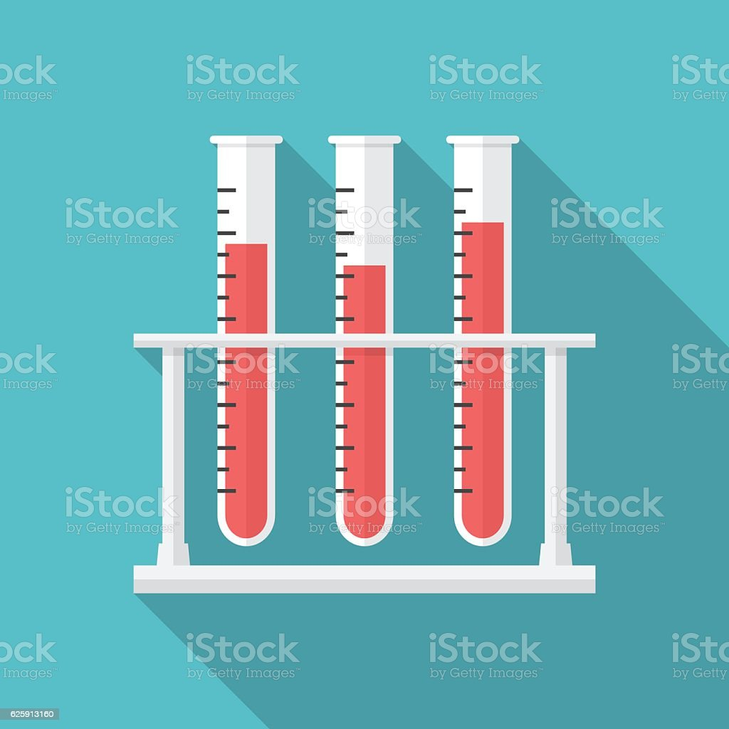 Test tubes icon with long shadow. vector art illustration