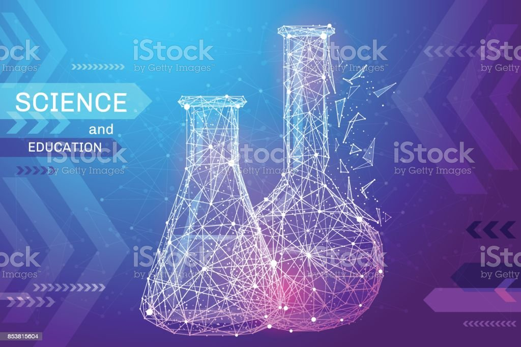 test tubes low poly color vector art illustration