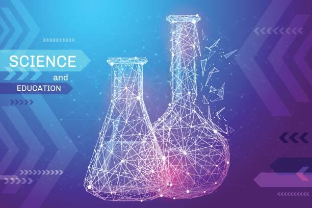 ilustrações, clipart, desenhos animados e ícones de cor baixa poli de tubos de ensaio - planos de fundo de ciências