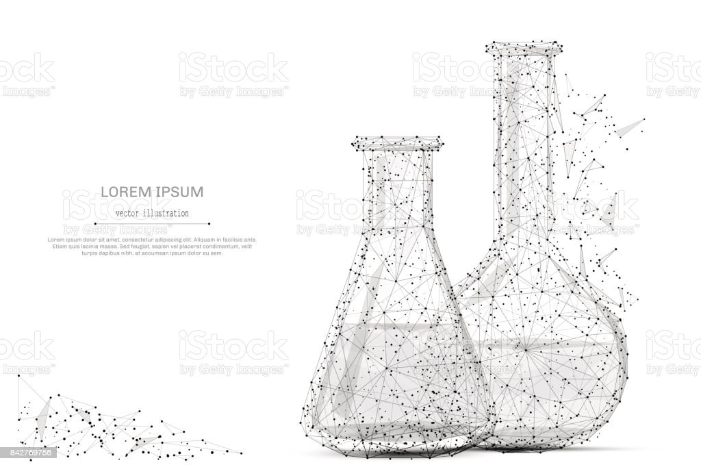 test tubes low poly gray vector art illustration