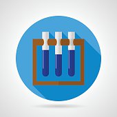 Flat vector icon for some laboratory of three test tubes with blue liquid on brown rack on gray background. Long shadow design