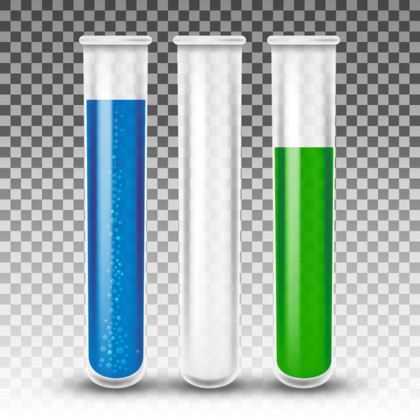 reagenzgläser realistische vektor - becherglas stock-grafiken, -clipart, -cartoons und -symbole