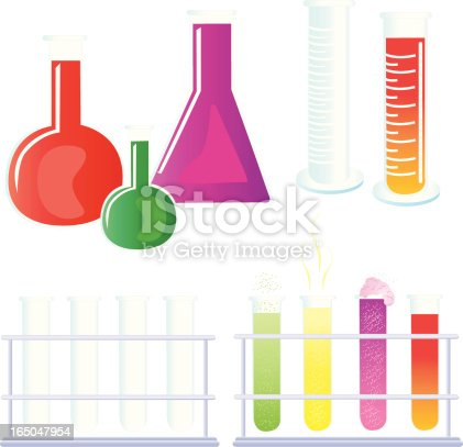 Gradients were used to create this collection of test tubes, beakers, and scientific experiments.  Each beaker is grouped individually, and each set of test tubes, empty and full, are grouped.  Extra large JPG, thumbnail JPG, and Illustrator 8 compatible EPS are included in zip.