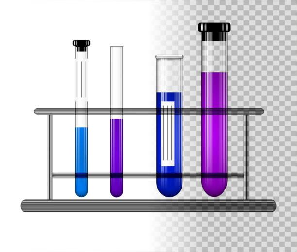 reagenzgläser mit flüssigkeit auf ein glas stehen. transparente glaskolben mit kappe. vektor-illustration. - methamphetamin stock-grafiken, -clipart, -cartoons und -symbole