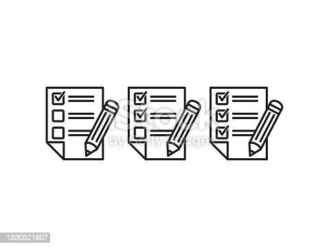 istock Test vector icon. Checklist  with pencil vector illustration. 1330521607