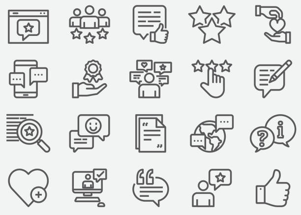 Testimonial and Support Line Icons Testimonial and Support Line Icons social media icons stock illustrations