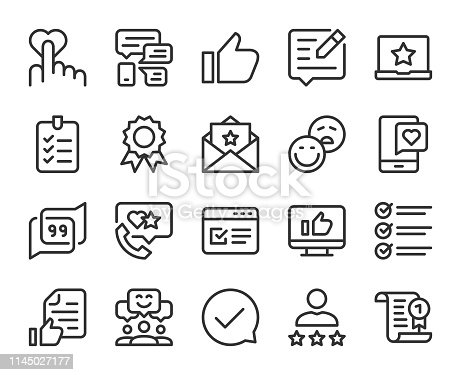 Testimonial Line Icons Vector EPS File.