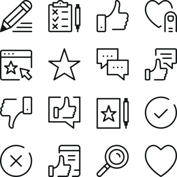 Testimonials and customer feedback line icons set. Modern graphic design concepts, simple outline elements collection. Vector line icons vector art illustration