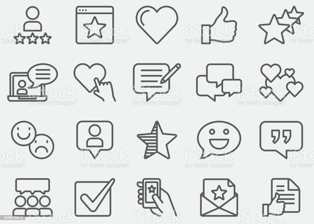 Testimonials And Customer Service Line Icons vector art illustration
