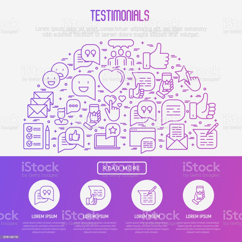 Testimonials and quote concept in half circle with thin line icons of review, feedback, survey, comment. Vector illustration for banner, web page, print media. vector art illustration