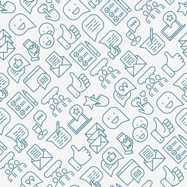 testimonials und zitat musterdesign mit dünne linie ikonen der bewertung, feedback, umfrage, stellung zu nehmen. vektor-illustration für printmedien, banner, web-seite. - feedback stock-grafiken, -clipart, -cartoons und -symbole