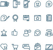 Testimonials, client relationship, feedback, inquiry thin line vector icons