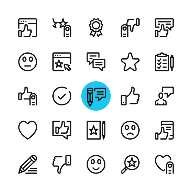 Testimonials, feedback, customer satisfaction, recommend, review line icons set. Modern graphic design concepts, simple outline elements collection. 32x32 px. Pixel perfect. Vector line icons vector art illustration