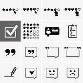 Testimonials Icons and Customer Review set. Feedback and experience symbols.